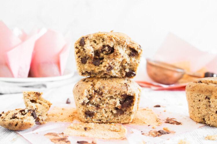 Muffins Saludables de Banana y Mantequilla de Maní